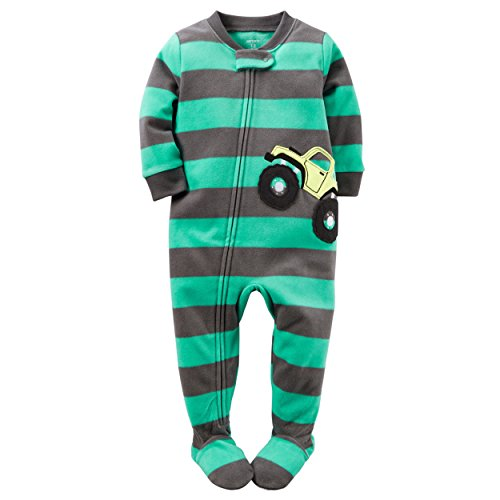 Carter's Baby Boys 1 Pc Fleece, Turquoise Truck, 18 - Sleepers Infant Fleece