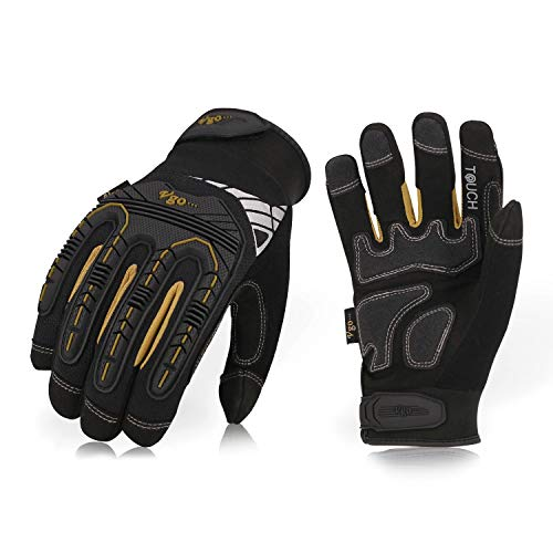 Vgo 3Pairs High Dexterity Heavy Duty Mechanic Glove,Rigger Glove(Anti-vibration,Anti-abrasion,Touchscreen,Size M, Black, SL8849)