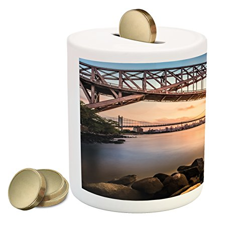 Ambesonne Landscape Piggy Bank  Sunset Evening View Picture Hell Gate And Triboro Bridge Astoria Queens America  Printed Ceramic Coin Bank Money Box For Cash Saving  Brown Blue