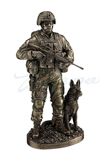 US Army Soldier And Dog Statue Honor, Courage, Commitment Figurine