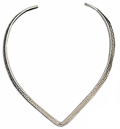 Silver Hammered Collar - New Silver Hammered Texture 6mm V Shaped Choker Collar Necklace Wire (CV7)