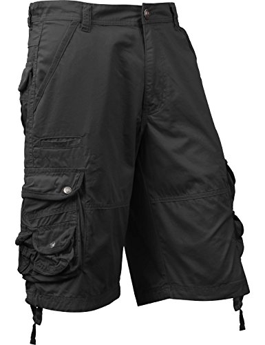 Mens Premium Cargo Shorts Loose Fit Twill Cotton Multi Pocket Outdoor (36, 1SM0001_Black)