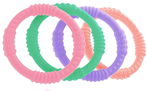 Teether Rings - (4 Pack) Silicone Sensory Teething Rings - Fun, Colorful and BPA-Free Teething Toys - Soothing Pain Relief and Drool Proof Teether Ring (Multicolor) by Bonbino