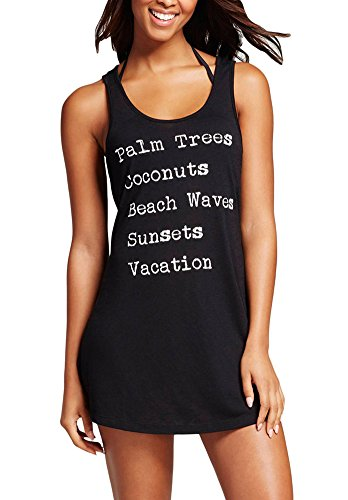 QZUnique Women's Summer Beach Sleeveless Tank T-shirt Swimsuit Beach Dress Bikini Cover Up Black US M