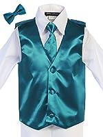 Bello Giovane Boys Satin Hand Made Long Tie & Vest Set (Free Bow Tie)