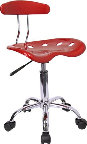 Flash Furniture Vibrant Wine Red and Chrome Swivel Task Office Chair with Tractor Seat