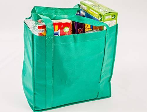 Reusable Grocery Bags by Baile | Green, Set of 5 | Durable Eco Friendly | Foldable Bags with Reinforced Hard Bottom | Shopping Bag | Reusable bags
