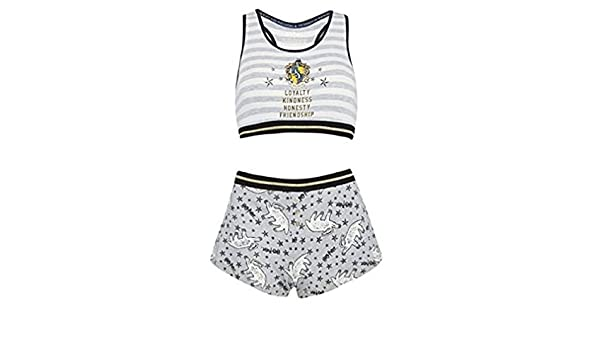Ladies Girls Harry Potter Huffle Puff Womens Crop Top and Short Pyjama Set (XL 18-20) at Amazon Womens Clothing store: