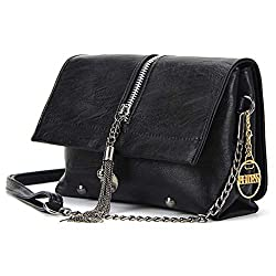 Ananxila Summer Women New Vintage Leather Shoulder Bag Crossbody Bags Fashion Tassel Handbag Black