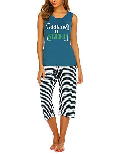 Ekouaer Ladies Jammies Sleepwear Set Graphic Print Night wear Tank PJ Pajama Set