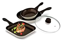 Lamart Ceramic Cookware Set 200mm Fry Pan, 280mm Pan With Lid And 260X260mm Grill Pan White/ Brown