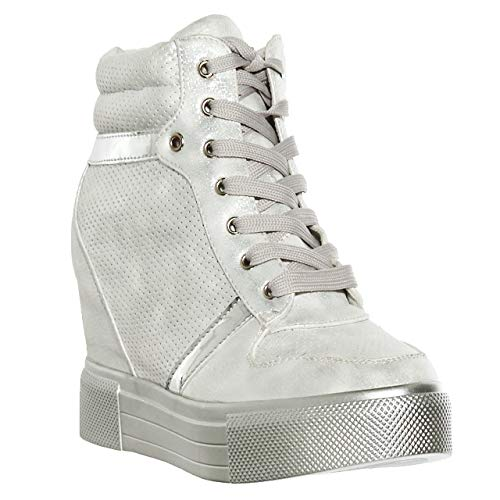 Patent Sneakers Leather (Women's Metallic Sole Lace Up Wedge Heels Platform Fashion Sneakers (7.5, White)[Apparel])