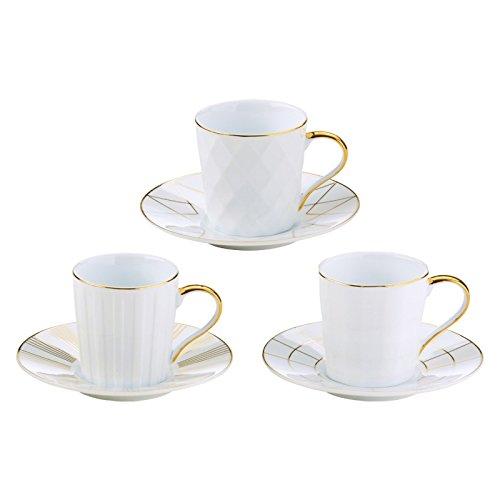 BIA Set of 3 Lux Espresso Cups & Saucers Gold, Porcelain, 115x115x60 cm