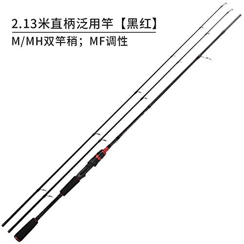 2.13 m noir-rouge straight handle with M MH  YWHY Canne à Pêche Luya Pole Set Roue De Retenue d'eau Ensemble Complet De Pôle De Mer Et De Pôle De Mer