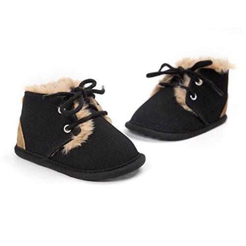 HUHU833 Kinder Mode Mädchen Schuhe Anti-Rutsch Soft Sole Baumwolle Kleinkind Schuhe Säuglingsschuhe(0~18 M) Schwarz