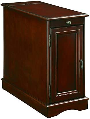 Furniture of America Daren I Transitional Wood Storage End Table in Cherry