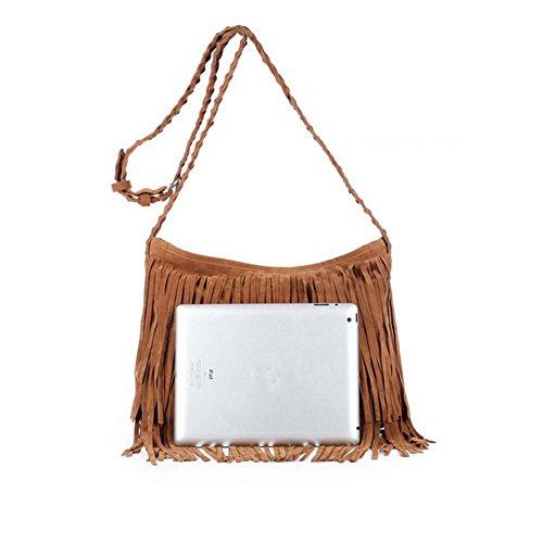 Ladies Shoulder bag bag Sling Women Fringe Tassel Messenger bag Purple Hobo Suede Faux JIARUO Crossbody WHyn8AvUA