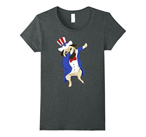 Womens Dabbing USA Uncle Sam Pug Dog Funny American Flag Tshirt Small Dark Heather