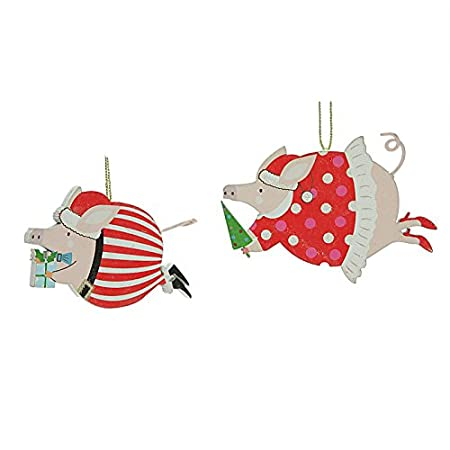 Set of 2 Funky Flying Pig Christmas Decorations (6.5cm): Amazon.co ...