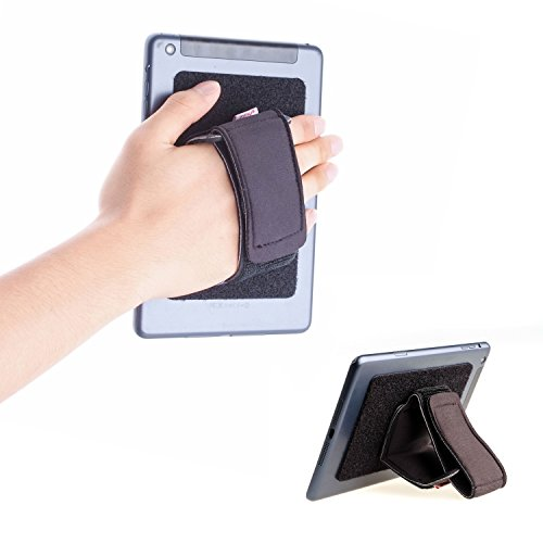 TFY Padded Hand-Strap Plus Hook & Loop Fastening Tape Adhesive Patch - DIY Detachable Hand-Strap for Smartphone, Tablet PC and More - iPhones - iPad Pro 9.7/12.9 Inch and Other Tablets (Handheld Tablet Holder)