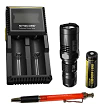 Nitecore EA11 LED Flashlight - Nitecore IMR 14500 Battery & D2 Charger