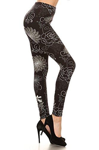 R675-3X5X Romantic Outline Print Fashion Leggings