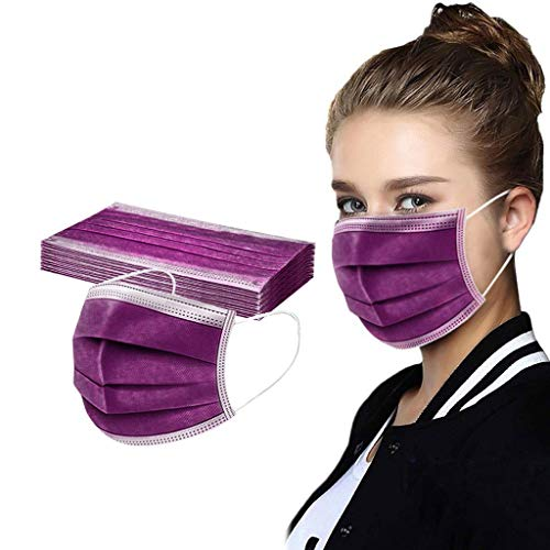 Adults 10pcs Disposable Solid Color Face Macks Breathable 3 Ply Elastic Earloops Bandanas Face Health Protection