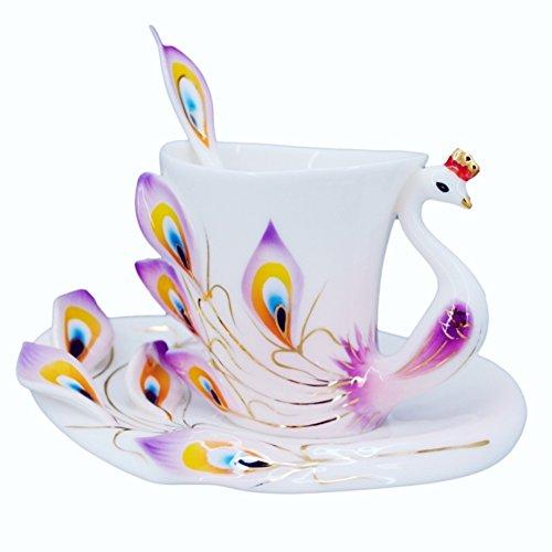 Creative Peacock coffee cup set/ ceramic coffee mug/ teacup-B