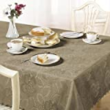 Emma Barclay Damask Rose Tablecloth, Latte, 50 x 70 Inch