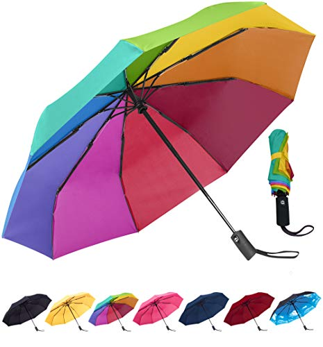Rain-Mate Compact Travel Umbrella - Windproof, Reinforced Canopy, Ergonomic Handle, Auto Open/Close Multiple Colors (Rainbow)