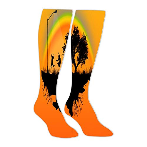Happy Jump Rainbow Landscape Stockings Female Spring and Autumn Warm Slimming Over The Knee Socks