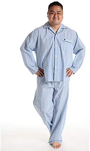 サカゼン POLO BCS 大きいサイズ メンズ サッカー地 ストライプ 綿100% 前開き 長袖 長ズボン 上下セット パジャマ