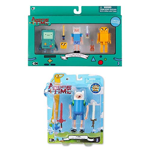 """Adventure Time Toys - 2.75"""" Limited Edition Collectors Pixel Pack with Jake, Finn and Beemo (BMO) and 5"""" Bendy Arms Finn with 2 Swords Bundle"""