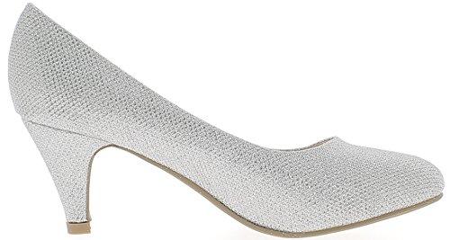 ChaussMoi Scarpe Donna D'Argento D'Argento con Paillettes Tacco Piccolo 6, 5cm