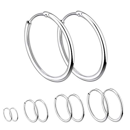 YL 15mm Hoop Earrings 925 Sterling Silver Polished Circle Endless Earrings Hoops Diameter Jewelry
