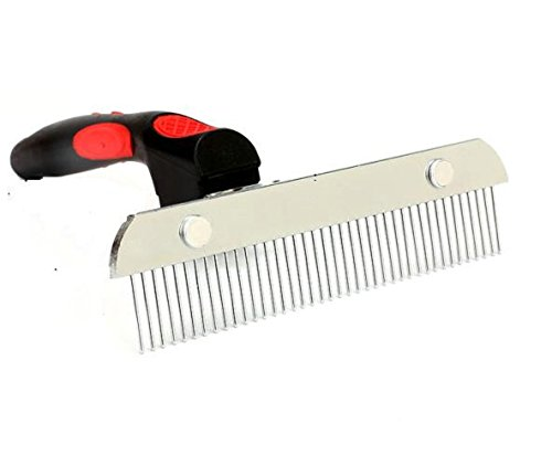 Pet Comb,Dog Long Hair Brush for Grooming Removes Tangled Knots Mats,Undercoat and Loose Hair Extra-Large Rake Comb Grooming Brush Deshedding For Golden Retriever Husky German Shepherd (RED)
