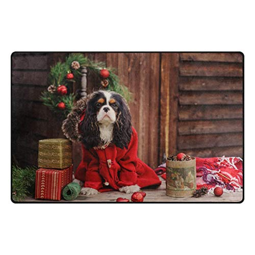 Fantasy Star Play Mat for Kids - Christmas Cavalier King Charles Spaniel Dog Doormat for Bedroom Kitchen Bathroom Decorative Lightweight Foam Rug - Baby Mats for Playing/Crawling - 5' x 8' ()