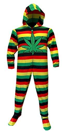 WebUndies.com Men's Weedman Route 420 Pot Rasta Stripe Footed Hooded Onesie Pajamas (Small) Red