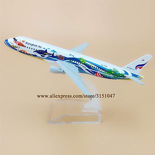 ZAMTAC Alloy Metal Thailand Bangkok Air A320 Airlines Airplane Model Thai Airbus 320 Airways Plane Model Aircraft Kids Gifts 16cm