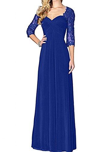 Royal Langarm Tanzenkleider Chiffon La Promkleider Spitze Blau mia Festlichkleider Abendkleider Braut Fuchsia Ballkleider Lang wgRqBZA