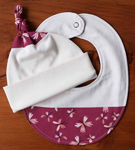 Pink Butterfly Newborn Baby Hat and Bib Gift Set; Flutter ()