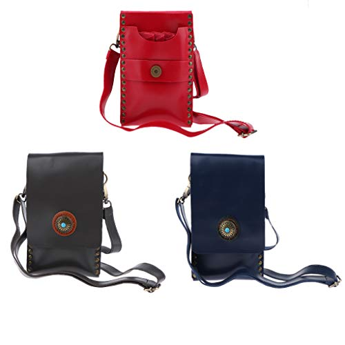 Flameer 3Pcs Hair Styling Tools Waist Bag Professional Salon PU Leather Hairdressing Pouch Holster Barber Scissor Comb Holder Case with Removable Waist Belt