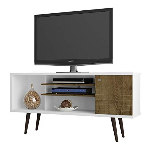 Manhattan Comfort Liberty Collection Mid Century Modern TV Stand With One Cabinet and Three Open Shelves and One Cubby With Splayed Legs, White/Wood (Tv Stand 5ft)