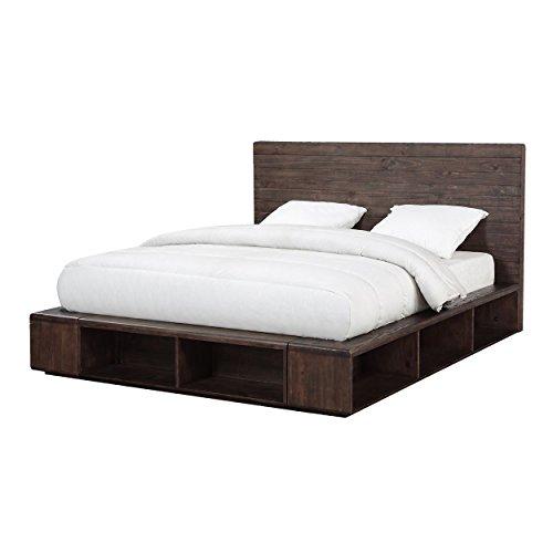 (Manja Queen Platform Bed - Rustic Espresso Pine)