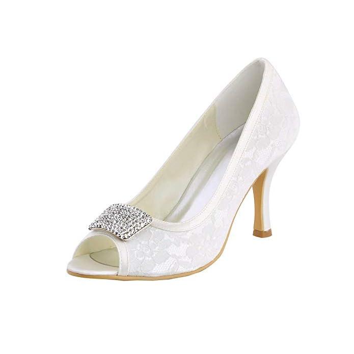 Willsego Sandali Da Sposa In Pizzo Con Tacco Alto Donna Scarpe Sera colore Ivory-7 5cm Heel Dimensione 3 Uk