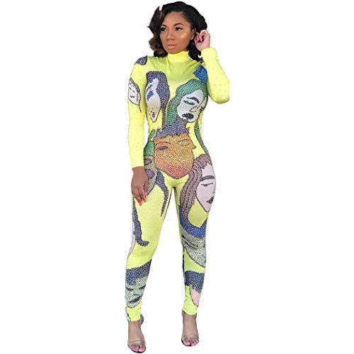 Fashion Women Sparkly Rhinestones Long Sleeve Bodycon Bodysuit Novelty Turtleneck One Piece Overall(Yellow,M)