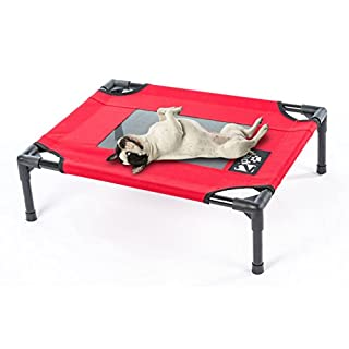2PET Elevated Cooling Pet Bed, Pet Cot, Dog Bed with Breathable Mesh Fabric, Orthopedic, Easy Clean for Small, Medium, Large, Extra Large All Breeds and New Improved Nylon 1680D M-Red