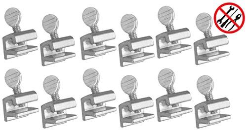(12pc Premium ALAZCO Home Security Sliding Window Lock - Tamper Resistant Extruded Aluminum - Thumbscrew No Tool Needed)