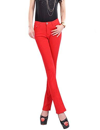DELEY Mujeres Señora Elástica Vintage Elegante Slim Fit Pantalones Acampanados Vaqueros Push Up Skinny Jeans Casual Oficina Pantalón Rojo