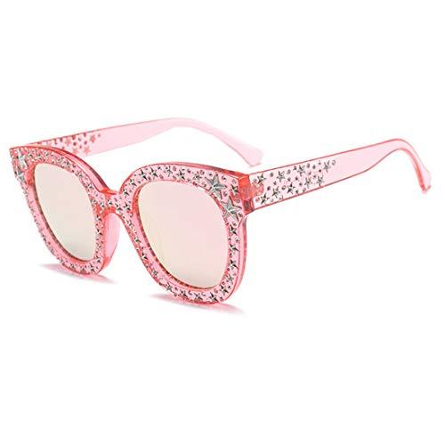 Bonbons Lunettes Diamant Retro Couleurs Étoiles Des Muchao Surdimensionné Sunglassses Rose Miroir Femmes De Charnière Soleil 4qAYX
